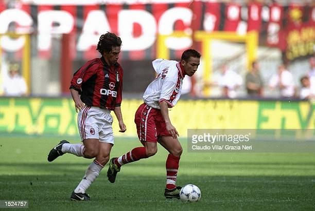 Hidetoshi Nakata of Perugia in action during the Serie A match against AC Milan at the San Siro in Milan, Italy. AC Milan won the match 3-1. \...