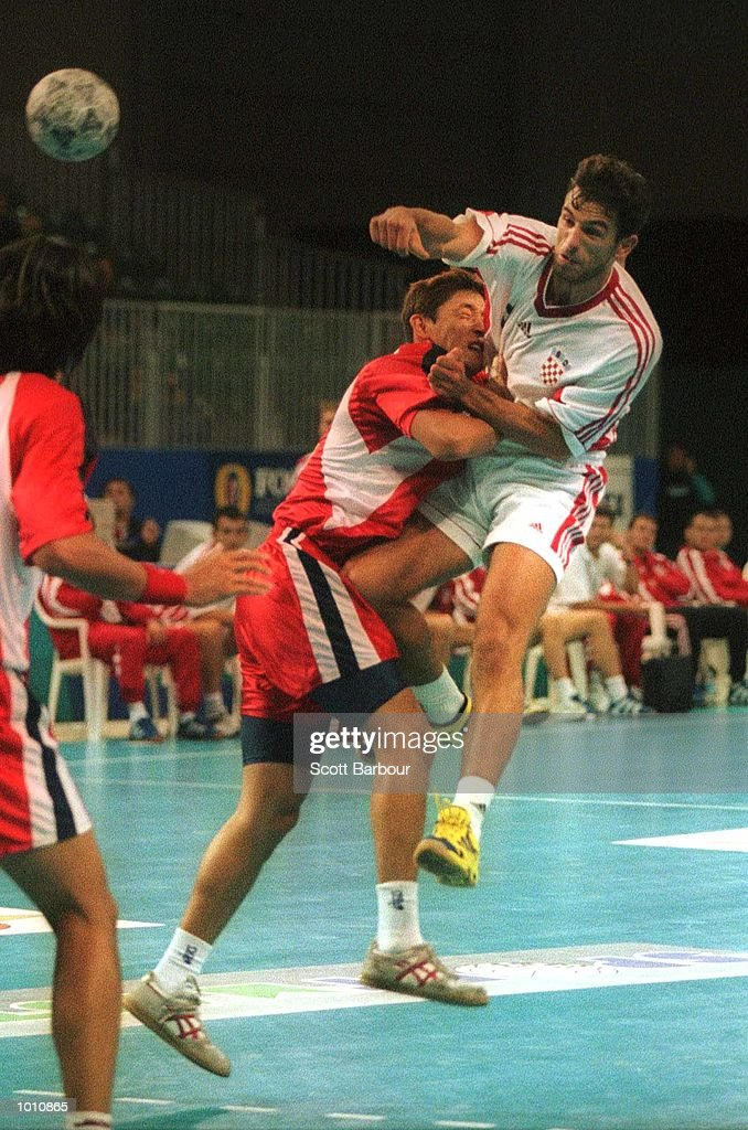 12 Sep 1999. I. Maras of Croatia shoots for goal during the match between Japan and Croatia at the Southern Cross International Handball Challenge, a SOCOG Olympic test event, Buring Pavilion, Olympic Park Homebush, Sydney, Australia. Mandatory Credit:Scott Barbour/ALLSPORT