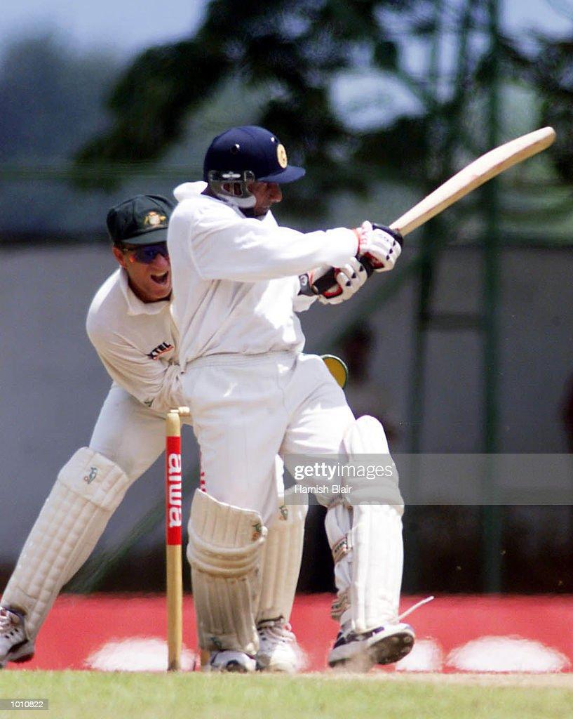Ian Healy of Australia look on as Arivinda de Silva of Sri Lanka hits out, during day two of the First Test between Sri Lanka and Australia at Asgiriya Stadium, Kandy, Sri Lanka. Mandatory Credit: Hamish Blair/ALLSPORT