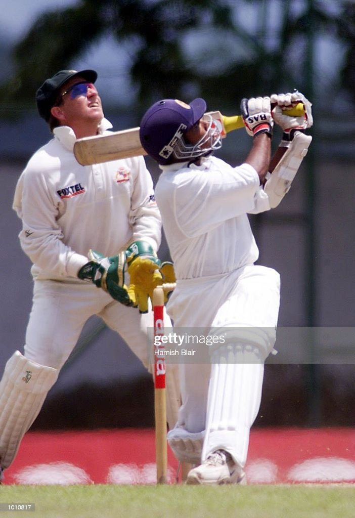 Ian Healy of Australia look on as Mehela Jayawardene of Sri Lanka skies the ball that lead to the collision between Jason Gillespie and Steve Waugh, during day two of the First Test between Sri Lanka and Australia at Asgiriya Stadium, Kandy, Sri Lanka. Mandatory Credit: Hamish Blair/ALLSPORT