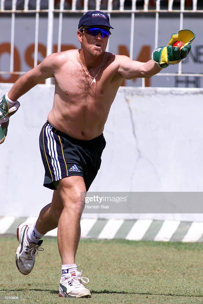 Ian Healy of Australia takes a catch, during training at Singhalese Sports Club, Colombo, Sri Lanka. Mandatory Credit: Hamish Blair/ALLSPORT