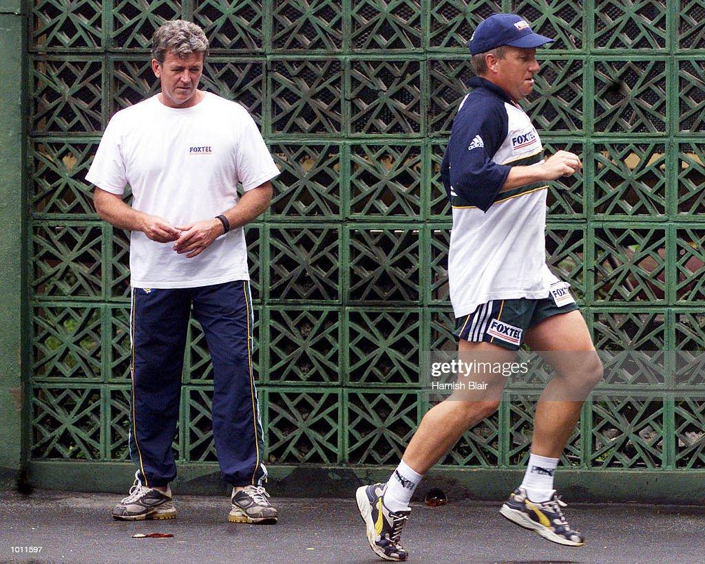 Ian Healy of Australia under goes a fitness test under supervision from team physio Errol Allcot, on the tennis courts at the Taj Samudra Hotel, Colombo, Sri Lanka.X Mandatory Credit: Hamish Blair/ALLSPORT