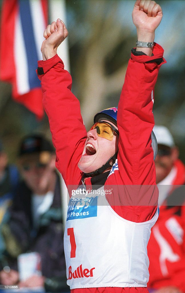 Jacqui Cooper of Australia celebrates after landing her second jump during the second round of the 1999/2000 world cup aerials season, at Mount Buller, Australia. Cooper, who won the first event, finished in first place again in the womenssection. Mandatory Credit: Jack Atley/ALLSPORT