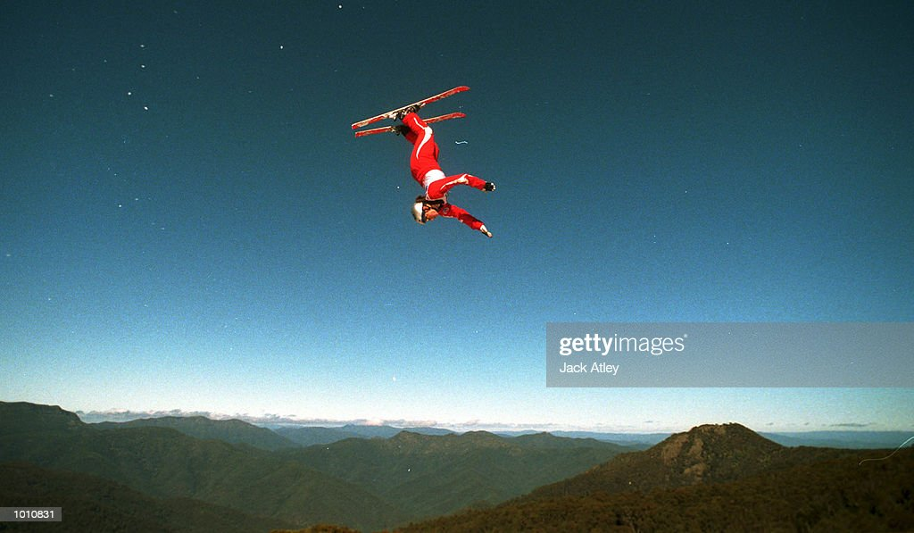 Jacqui Cooper of Australia flies above the Mount Buller world cup aerials site during her world record breaking jump which secured victory in the first round of the new world cup season, at the Philips Mobile Phones World Aerials, Mount Buller, Australia. Mandatory Credit: Jack Atley/ALLSPORT