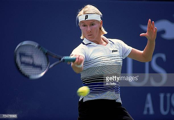 Jana Novotna of Czech Republic returns the ball during a match in the US Open at the USTA National Tennis Courts in Flushing Meadows New York...