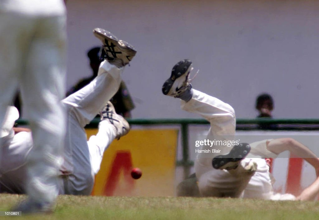 Jason Gillespie and Steve Waugh of Australia collide attempting a catch, during day two of the First Test between Sri Lanka and Australia at Asgiriya Stadium, Kandy, Sri Lanka. Mandatory Credit: Hamish Blair/ALLSPORT