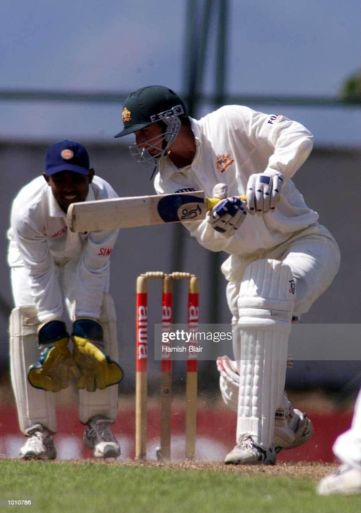 Jason Gillespie of Australia batting with Romesh Kaluwitharana of Sri Lanka looking on, during day one of the First Test between Sri Lanka and Australia at Asgiriya Stadium, Kandy, Sri Lanka. Mandatory Credit: Hamish Blair/ALLSPORT
