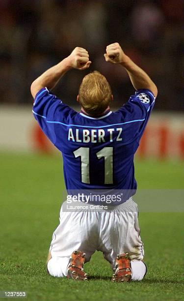 Jorg Albertz of Rangers celebrates victory against PSV during the Champions League match between PSV Eindhoven and Glasgow Rangers at the Phillips...