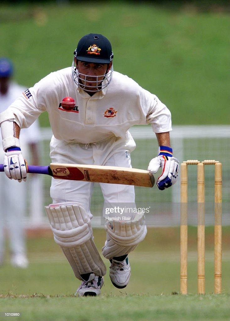 Justin Langer of Australia, watches the ball carefully, during day one of the Tour match between the Sri Lanka Board XI and Australia at Colombo Cricket Club, Colombo, Sri Lanka. Mandatory Credit: Hamish Blair/ALLSPORT
