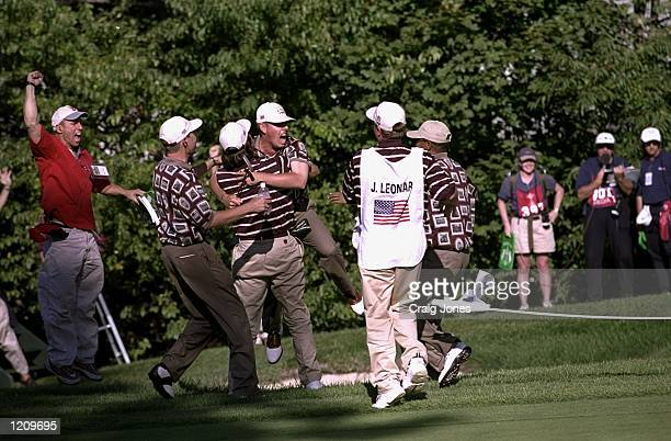 Justin Leonard of the USA celebrates during the 33rd Ryder Cup match played at the Brookline CC in Boston, Massachusetts, USA. \ Mandatory Credit:...