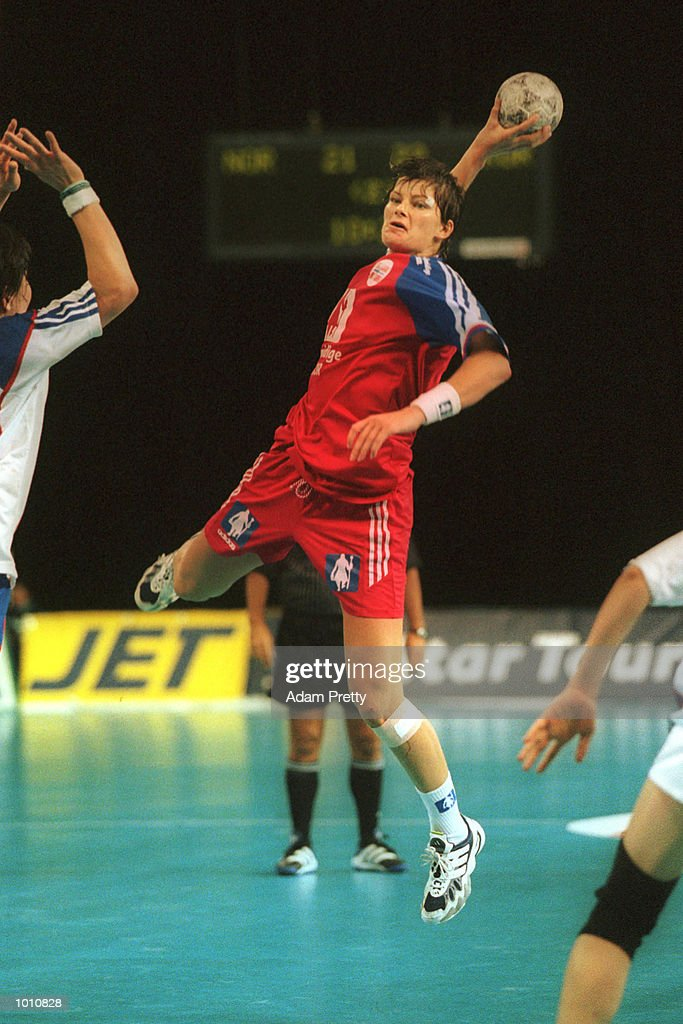 10 Sep 1999. K. Grini of Norway flies high on her way to scoring ten goals, during Norways win of 26 to 25 over Korea at the Southern Cross International Handball Challenge, a SOCOG Olympic test event, Buring Pavilion, Olympic Park Homebush Sydney Australia. Mandatory Credit: Adam Pretty/ALLSPORT