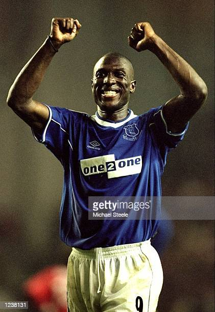 Kevin Campbell of Everton celebrates victory after the FA Premier League match between Liverpool and Everton played at Anfiled Liverpool England The...