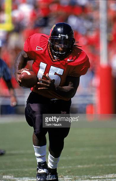 Lamont Jordan of the Maryland Terrapins carries the ball during the game against the West Virginia Volunteers at Byrd Stadium in College Park,...