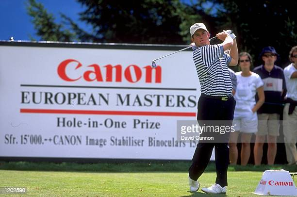 Lee Westwood of England in action during the Canon European Masters at CranssurSierre in Switzerland Mandatory Credit David Cannon /Allsport