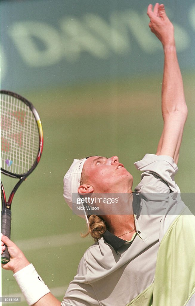 Lleyton Hewitt of Australia serves during his 6-4, 7-5, 6-2 victory over Yevgeny Kafelnikov of Russia during the Davis Cup semi final at the ANZ Stadium, Brisbane, Australia. Australia will now meet France in the Davis Cup Final. Mandatory Credit: Nick Wilson/ALLSPORT