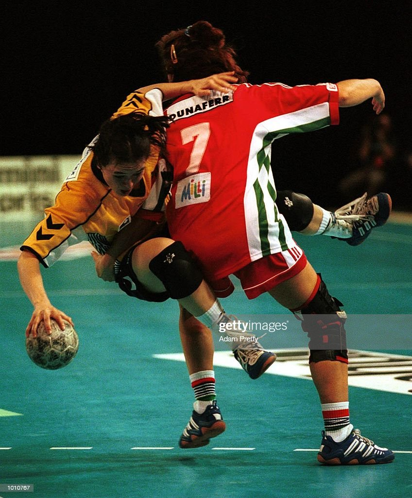 Lydia Kahmke of Australia is tackeled by Beata Megyebirone of Hungary during the match between Australia v Hungary at the Southern Cross International Handball Challenge, at the Buring Pavilion, Sydney Olympic Park Homebush, Sydney Australia. Mandatory Credit: Adam Pretty/ALLSPORT
