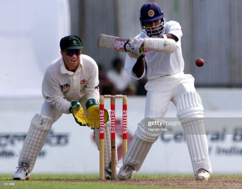 Mahela Jayawardene of Sri Lanka on the attack, with Ian Healy of Australia looking on, during day one of the second test between Sri Lanka and Australia at Galle International Stadium, Galle, Sri Lanka.X Mandatory Credit: Hamish Blair/ALLSPORT