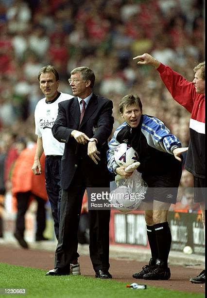 Manchester United manager Alex Ferguson during injury time in the FA Carling Premiership match against Liverpool at Anfield in Liverpool England...