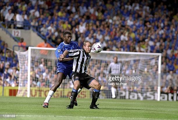 Marcel Desailly of Chelsea battles with Alan Shearer of Newcastle during the FA Carling Premier League match between Chelsea and Newcastle United...