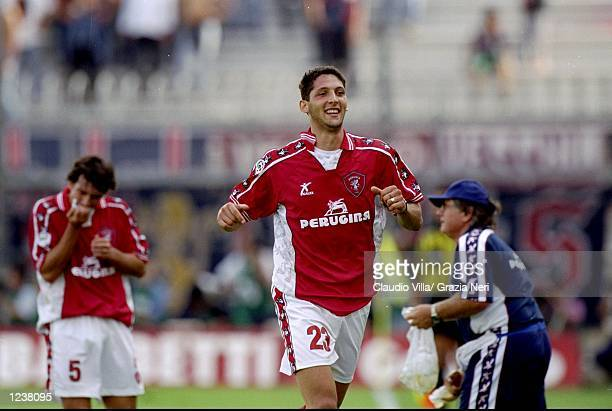 Marco Materazzi of Perugia celebrates his goal during the Italian Serie A match between Perugia and Cagliari played at the Stadio Renato Curi Perugia...
