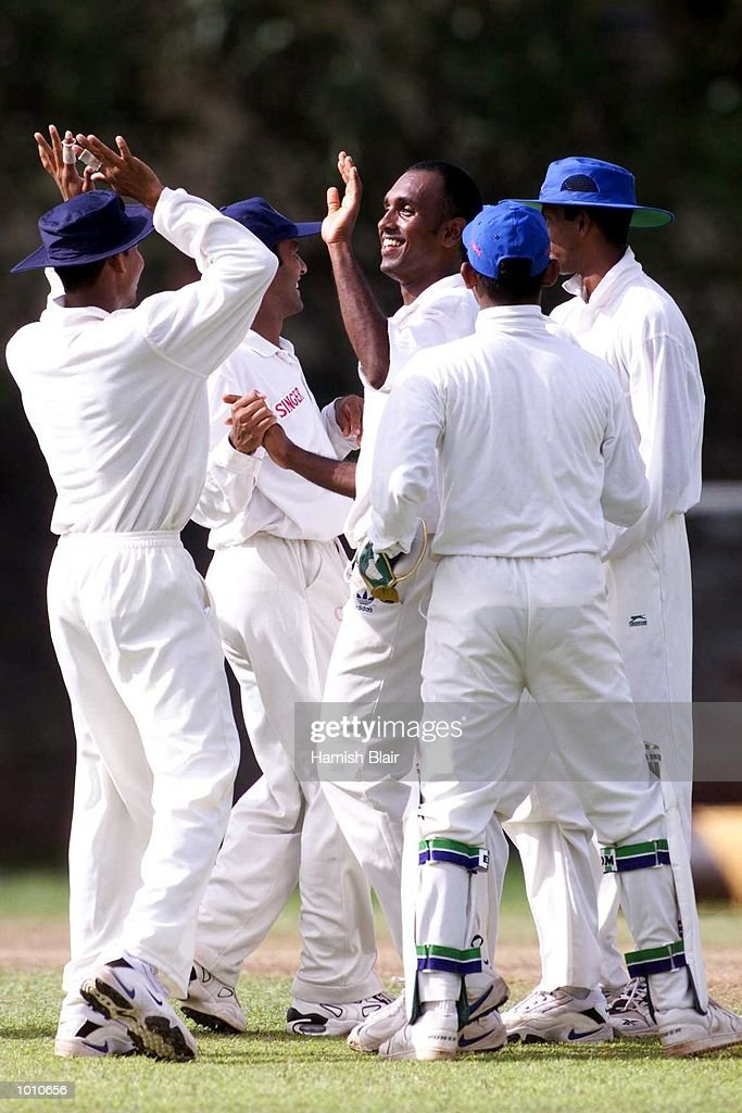 Mario Villavayan of the Board XI celebrates after dismissing Justin Langer of Australia, during day two of the tour match between the Sri Lanka Board XI and Australia at Saravanamuttu Stadium, Colombo, Sri Lanka. Mandatory Credit: Hamish Blair/ALLSPORT