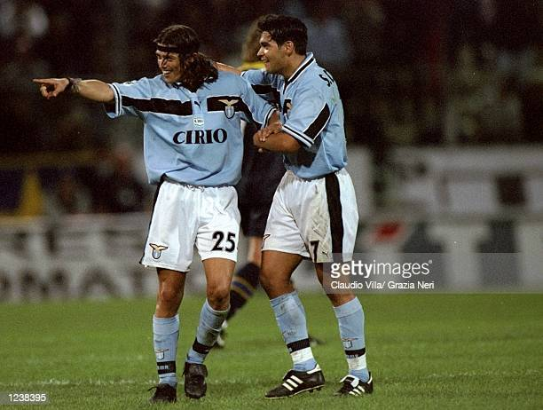 Matias Almeyda of Lazio is congratulated on his goal during the Serie A match between Parma and Lazio played at the Stadio Ennio Tardini Parma Italy...