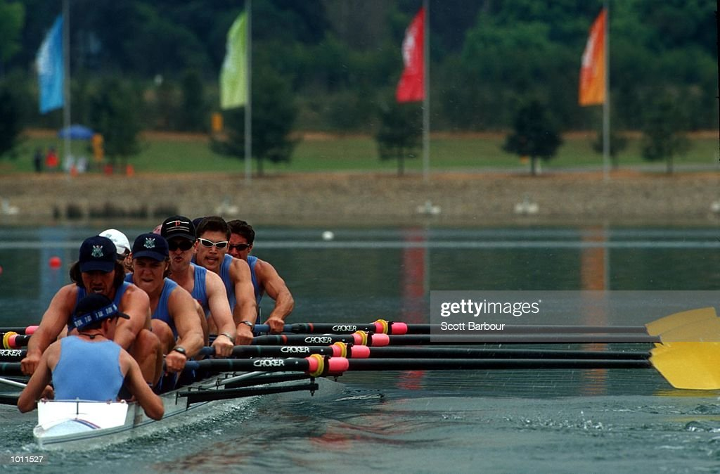 24 Sep 1999 New South Wales team in action on their way to winning the Men's Under 23's eights final at the Pacific Rim International Regatta - a S.O.C.O.G. test event at the Sydney International Regatta Centre, Penrith, Sydney, Australia. Mandatory Credit: Scott Barbour/ALLSPORT
