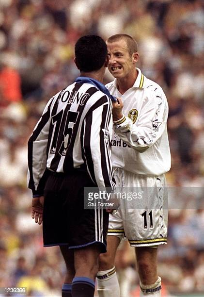 Nolberto Solano of Newcastle argues with Lee Bowyer of Leeds during the FA Carling Premiership match played at Elland Road in Leeds England Leeds won...