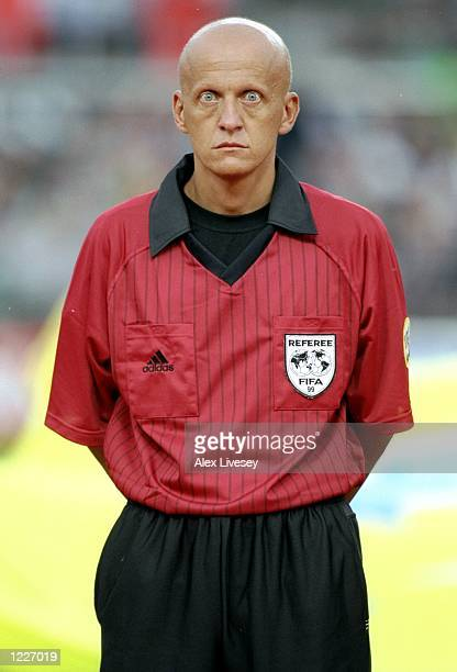 Pierluigi Collina of Italy the referee for the match between the Republic of Ireland and Yugoslavia in the European Championship qualifying game at...