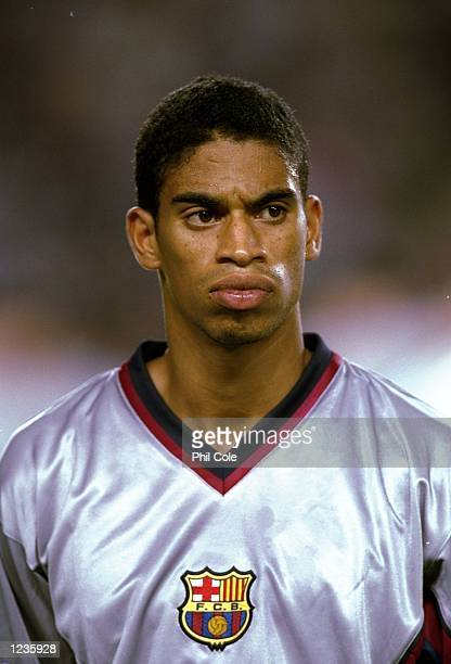 Portrait of Michael Reiziger of Barcelona lining up to face Fiorentina in the UEFA Champions League group B match at the Nou Camp in Barcelona Spain...