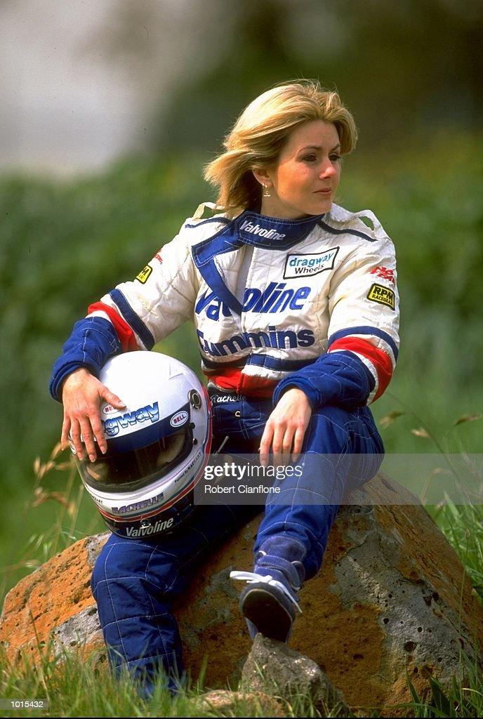 Portrait of top fuel drag racer Rachelle Splatt of Australia. \ Mandatory Credit: Robert Cianflone /Allsport