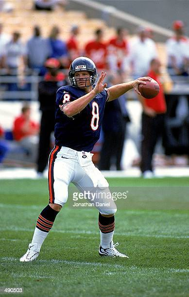 Quarterback Cade McNown of the Chicago Bears pass the ball during a game against the Kansas City Chiefs at Soldier Field in Chicago Illinois The...