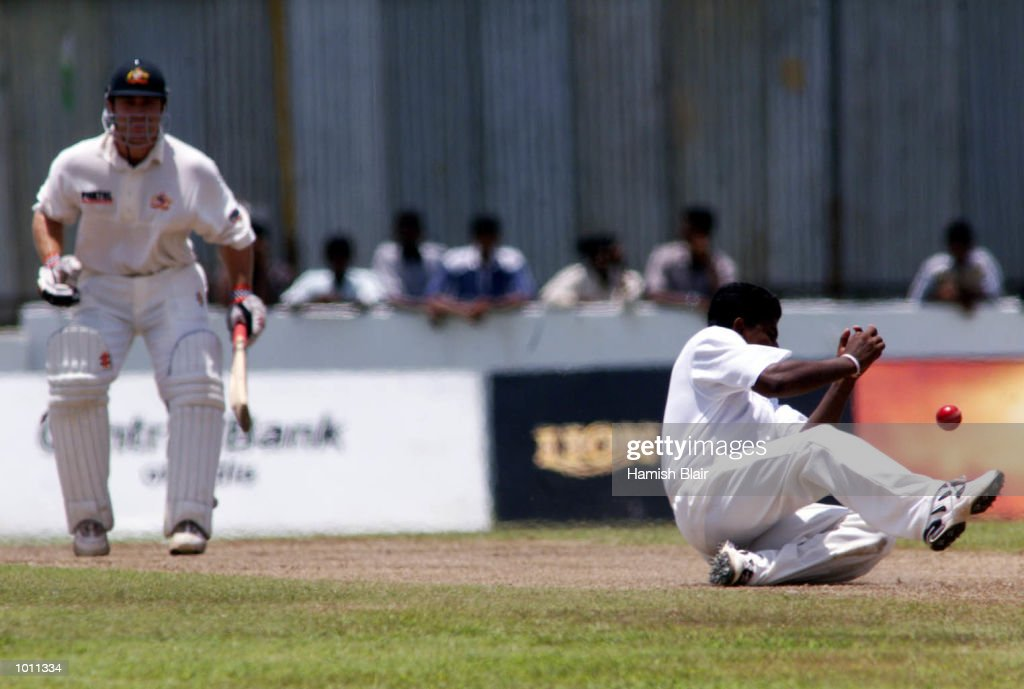 Rangana Herath of Sri Lanka fails to take a caught and bowled chance off Michael Slater (left) of Australia, during day two of the second test between Sri Lanka and Australia at Galle International Stadium, Galle, Sri Lanka.X Mandatory Credit: Hamish Blair/ALLSPORT