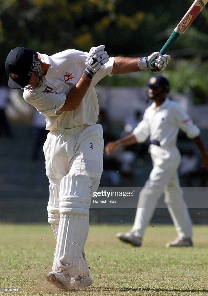 Ricky Ponting of Australia swings his bat in frustration after getting out caught and bowled by Muttiah Muralitharan, during day one of the First Test between Sri Lanka and Australia at Asgiriya Stadium, Kandy, Sri Lanka. Mandatory Credit: Hamish Blair/ALLSPORT