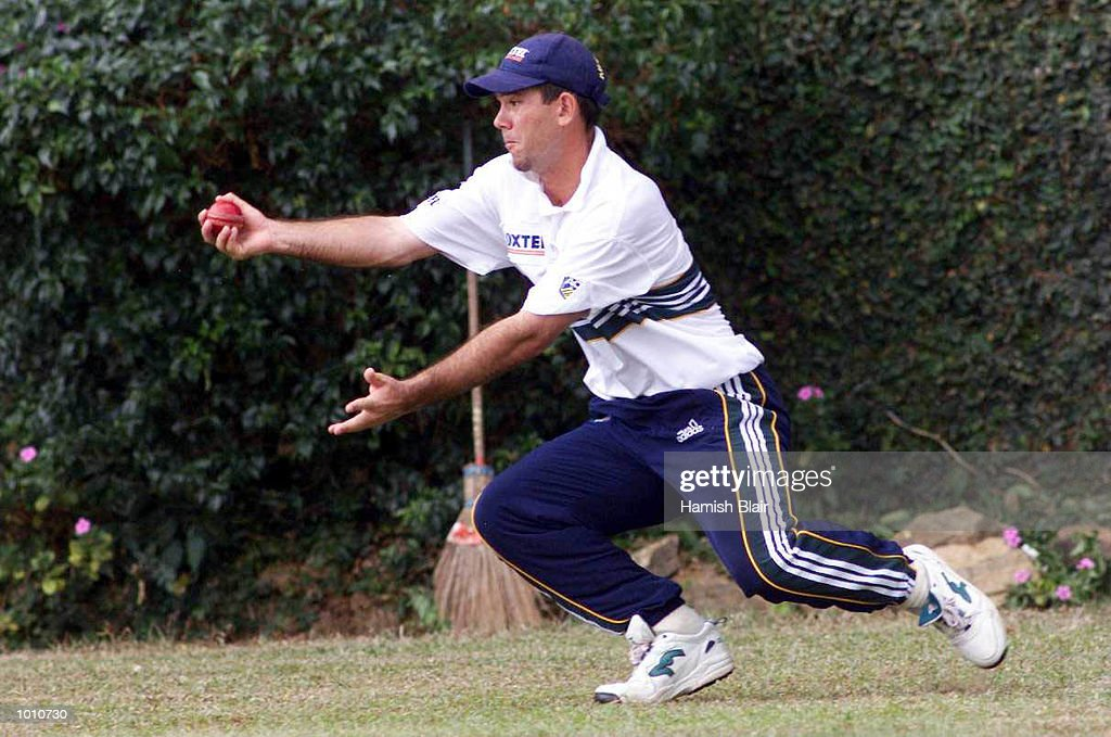 Ricky Ponting takes a sharp catch, during Australian training at Asgiriay Stadium, Kandy, Sri Lanka. Mandatory Credit: Hamish Blair/ALLSPORT