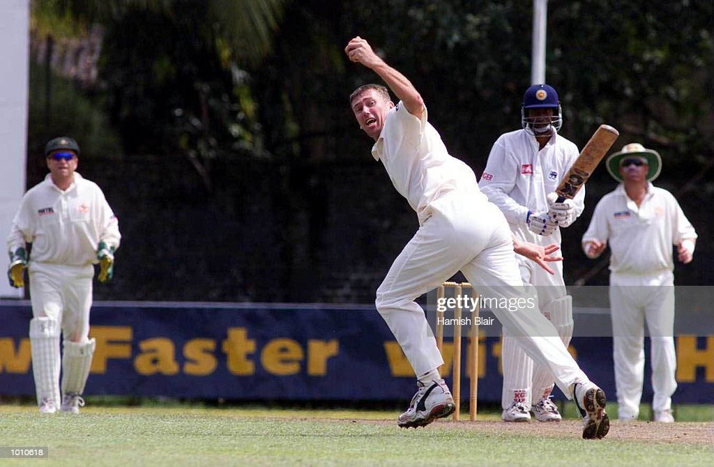 Russel Arnold of the Board XI is caught and bowled by Glenn McGrath of Australia, during day two of the tour match between the Sri Lanka Board XI and Australia at Saravanamuttu Stadium, Colombo, Sri Lanka. Mandatory Credit: Hamish Blair/ALLSPORT