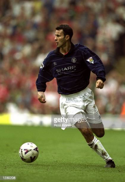 Ryan Giggs of Manchester United in action against Liverpool during the FA Carling Premiership match at Anfield in Liverpool England United won 32...