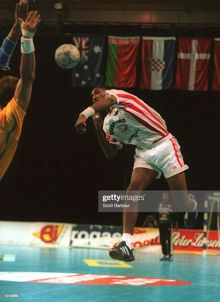 12 Sep 1999. S. Hussien of Egypt shoots for goal during the match as Sweden defeated Egypt 31-30 at the Southern Cross International Handball Challenge, a SOCOG Olympic test event, Buring Pavilion, Olympic Park Homebush, Sydney, Australia. Mandatory Credit: Scott Barbour/ALLSPORT