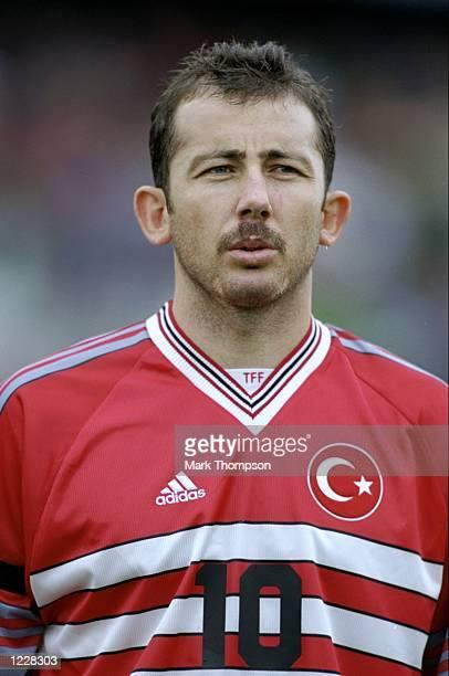 Sergen Yalcin of Turkey lines up prior to the Northern Ireland v Turkey Group 3 European Championship Qualifying match at Windsor Park Belfast...
