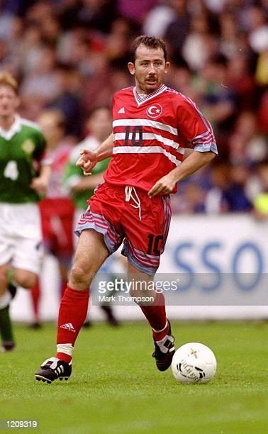 Sergen Yalcin of Turkey on the ball during the Euro 2000 qualifier against Northern Ireland at Windsor Park in Belfast Northern Ireland Mandatory...