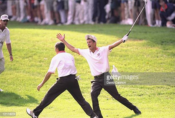 Sergio Garcia and Jesper Parnevik of Europe celebrates during the 33rd Ryder Cup match played at the Brookline CC in Boston Massachusetts USA...