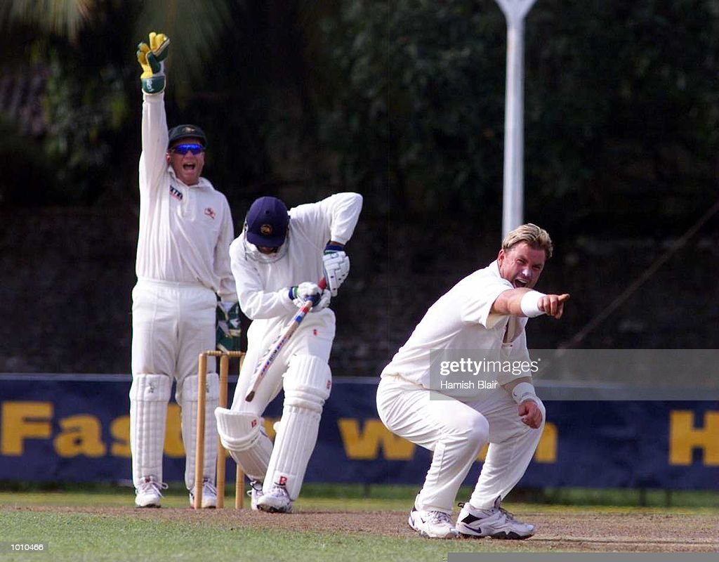 Shane Warne (right) and Ian Healy of Australia appeal for LBW against Tillekeratne Dilshan of the Board XI, during day one of the tour match between the Sri Lanka Board XI and Australia at Saravanamuttu Stadium, Colombo, Sri Lanka. MandatoryCredit: Hamish Blair/ALLSPORT