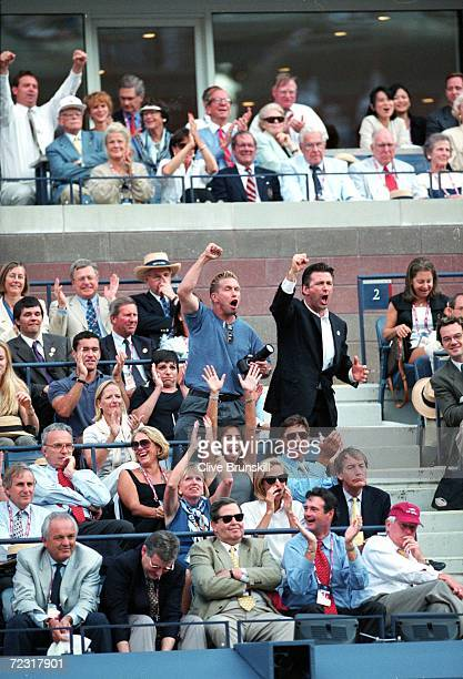 Stephen and Alec Baldwin stand and cheer from the stands during the US Open day 13 at the USTA National Tennis Center in Flushing Meadows New York...