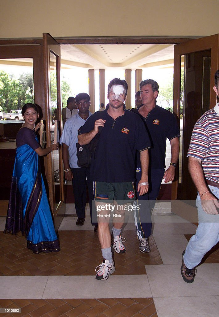 Steve Waugh of Australia arrives back at the Taj Samudra Hotel, wearing the wounds of his collision with Jason Gillespie, Colombo Hospital, Colombo, Sri Lanka. Mandatory Credit: Hamish Blair/ALLSPORT