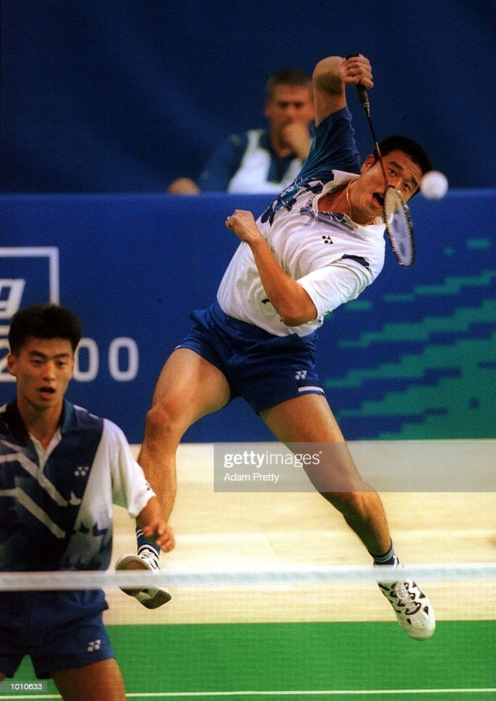 4 Sep 1999 T.Ha/D.Lee of Korea hits a smash on their way to defeating Dubrulle/Laigle of France in the mens doubles semi-final at the Australian Badminton International, a SOCOG Olympic test event, Pavilion 4, Olympic Park, Homebush, Sydney, Australia.Mandatory Credit: Adam Pretty/ALLSPORT