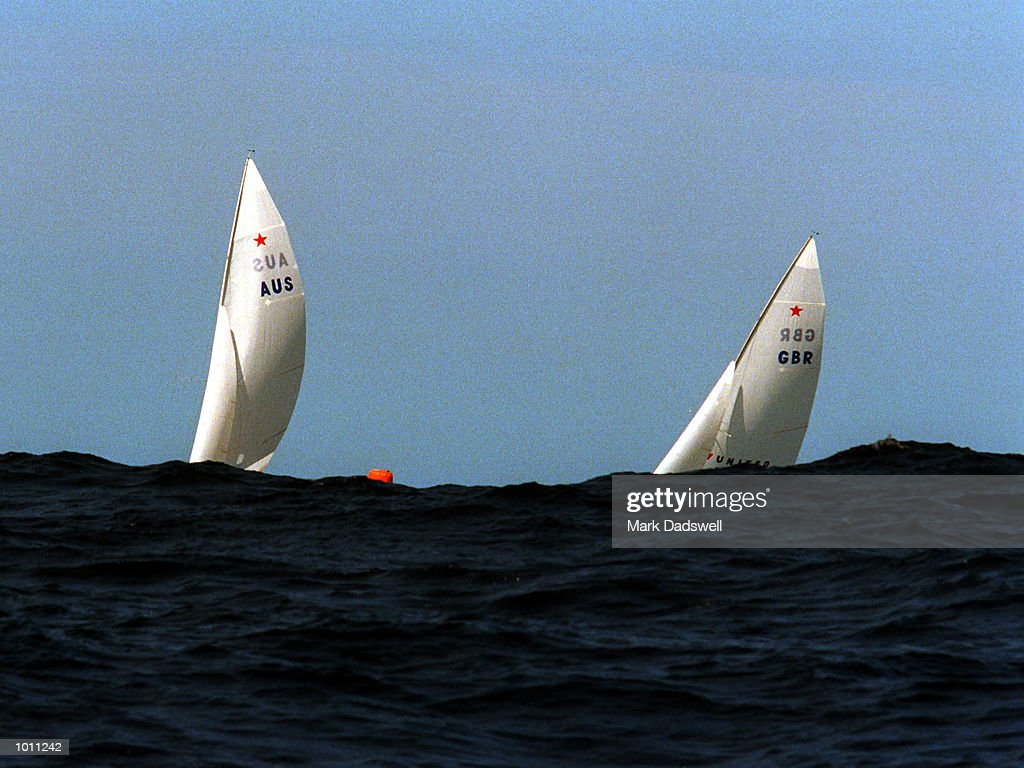 The Australian and Great Britian boats in action during the Open Double handed Keelboat during the 1999 Sydney Harbour Regatta in Sydney Harbour, Sydney, Australia.Australia won 1st and 2nd. Mandatory Credit: Mark Dadswell/ALLSPORT