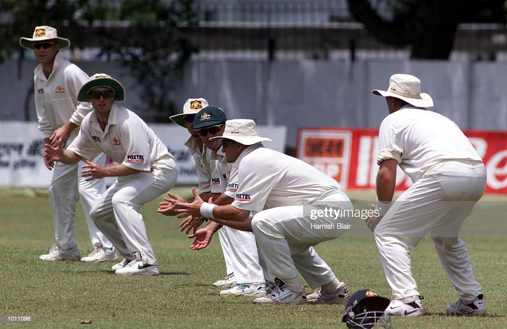 The Australian team with five slips and a gully, from right, Shane Warne, Mark Waugh (about to catch Tillekeratne Dilshan of the Board XI), Ricky Ponting, Greg Blewett, Simon Katich and Michael Slater, during day three of the Tour match between the Sri Lanka Board XI and Australia at Colombo Cricket Club, Colombo, Sri Lanka.X Mandatory Credit: Hamish Blair/ALLSPORT