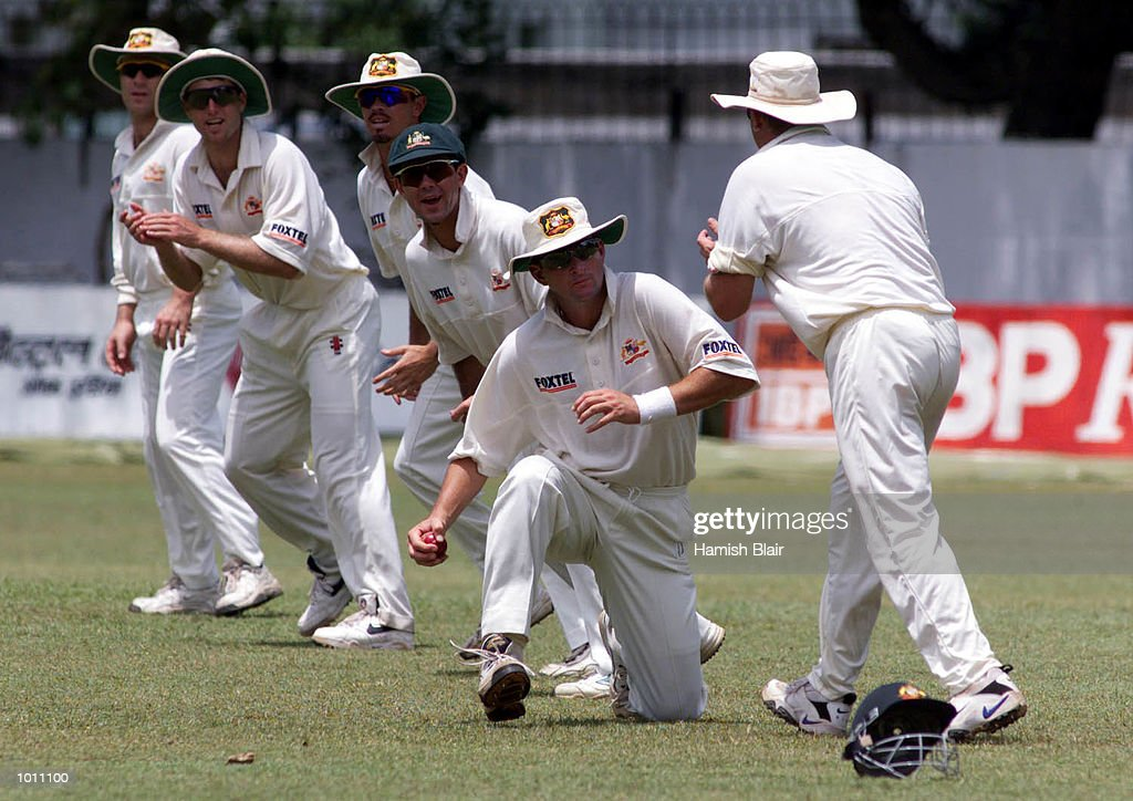 The Australian team with five slips and a gully, from right, Shane Warne, Mark Waugh (catching Tillekeratne Dilshan of the Board XI), Ricky Ponting, Greg Blewett, Simon Katich and Michael Slater, during day three of the Tour match between the Sri Lanka Board XI and Australia at Colombo Cricket Club, Colombo, Sri Lanka.X Mandatory Credit: Hamish Blair/ALLSPORT