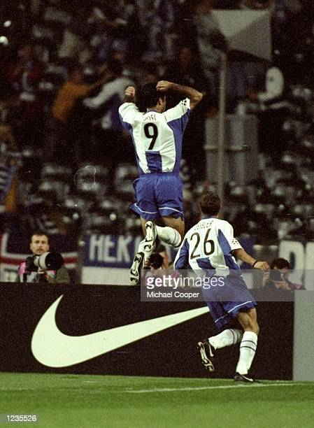 The Hertha scorer Ali Daei celebrates during the Champions League match between Hertha Berlin and Chelsea played at the Olympia Stadion in Berlin...