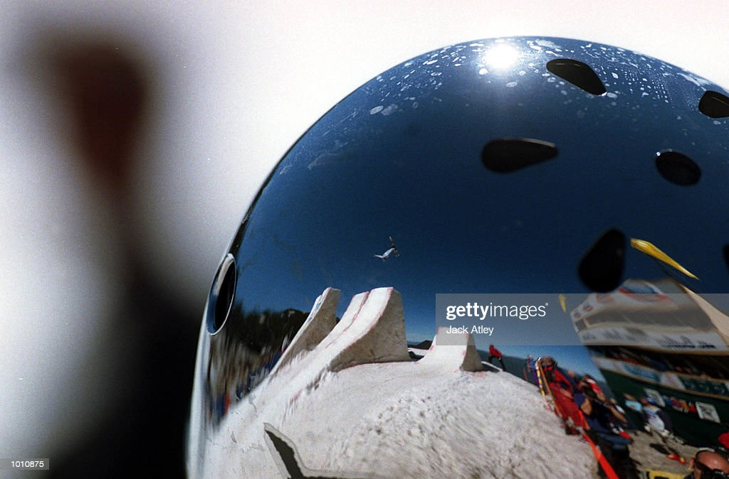 The Mount Buller world cup aerials site is seen reflected in the helmet of Alexi Grichin of Belarus during the second round of the 1999/2000 world cup aerials season at Mount Buller, Australia. Grichin finished in first place in the mens section. Mandatory Credit: Jack Atley/ALLSPORT
